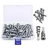 Wayceat Metal Self Drilling Drywall Wall Anchor Assortment Set Kit with Self Tapping Stainless Steel Screws, 100-Pack