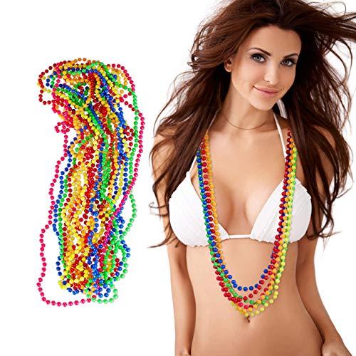 Relaxdays Lot de 12 colliers en perles fluo -6 couleurs - Chaîne hippie - Accessoires de déguisement, Fête à thème (années 80), Carnaval