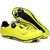 KUXUAN Zapatillas De Ciclismo para Hombre Zapatillas De Ciclismo De Bicicleta De Carretera De Microfibra Ligera MTB Piso Rígido Muy Resistente Al Desgaste para Descenso En BMX,Yellow-42