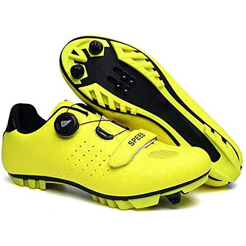 KUXUAN Zapatillas De Ciclismo para Hombre Zapatillas De Ciclismo De Bicicleta De Carretera De Microfibra Ligera MTB Piso Rígido Muy Resistente Al Desgaste para Descenso En BMX,Yellow-41