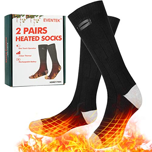 Eventek Heated Socks (2 Pairs) for Men Women, 4000 mAh Battery Powered Electric Socks, Winter Electric Rechargeable 3 Heating Settings Thermal Sock, for Skiing/Camping/Running/Fishing/Hunting