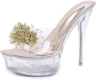 Summer Rhinestones Platform Sandals,Ladies Flowers Open Toe Stiletto Shoes,Perspex Clear Party Shoes Pvc Wedding Comfy Wild Dress Sandals