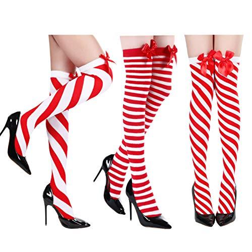 SATINIOR 3 Pares de Medias a Rayas Navideñas Calcetines hasta Rodilla para Niñas de Muslo Disfraz (Style Set 1)