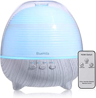 BlueHills Premium Essential Oil Diffuser with Remote Cute Aromatherapy Humidifier Large Capacity Coverage Area for Home Room Office Spa Long 12 hour Run Timer Mood Lights – White Wood Grain-S01-600ML