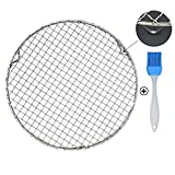 Fivebop Multi-Purpose Stainless Steel Cross Wire Round Steaming Cooling Barbecue Racks/Carbon Baking Net/Grills/Pan Grate with 3 Legs (8.25 inches)