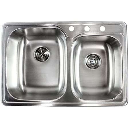 33 Inch Top Mount Drop In Stainless Steel Double Bowl Kitchen Sink 18 Gauge Single Bowl Sinks