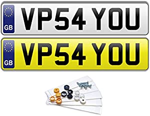 PREMIUM Pair EURO Road Legal MOT Compliant Number Plates For Cars Vans Trailers Fixing Kit Included