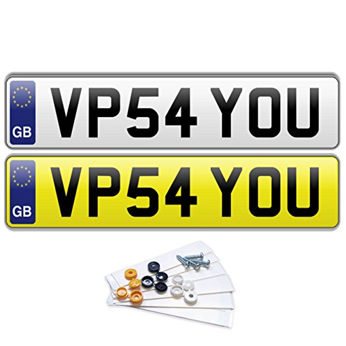 Price comparison product image PREMIUM Pair of GB EURO Road Legal MOT Compliant Number Plates For Cars Vans Trailers - Fixing Kit Included
