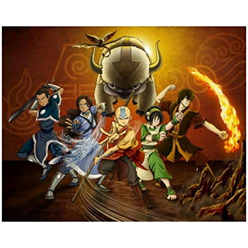 TanjunArt Avatar The Last Airbender Aang Fight Japón Anime Pintura al óleo póster Impresiones Lienzo Cuadro de Pared para la decoración de la habitación del hogar -60x80cm sin Marco