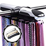 Primode Motorized Tie Rack Closet Organizer with LED Lights, Bonus Stainless Steel Tie Clip Set, Includes J Hooks for Wired Shelving Stores Up To 72 Ties with 8 Belts, Rotation Operates With Batteries