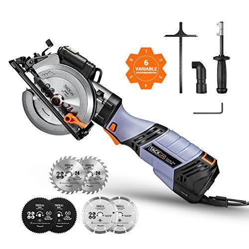 Handkreissäge, TACKLIFE 750w 3500U Mini Kreissäge mit 6 Variable Geschwindigkeiten, Schnitttiefe: 90 °: 48mm / 45 °: 35 mm, Laser und 6 Blätter für Holz, Weichmetall, Kunststoff und Fliesen - TCS115E