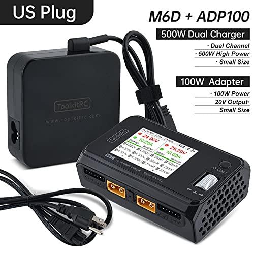 OUYBO ToolkitRC M6D 15Ax2 500W DC de dos canales mini cargador descargador Con ToolkitRC adaptador de alimentación de CA 100W Accesorios de batería de piezas RC (Color : M6D ADP100 US plug)