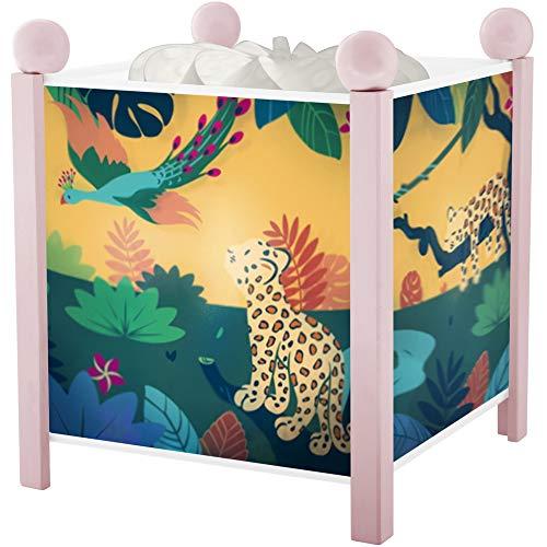 TROUSSELIER - Savannah - - Lámpara mágica nocturna - Para niños - Dibujos animados - Luz confortable - Color de madera rosa - Bombilla 12V 10W incluida - Adaptador de enchufe europeo