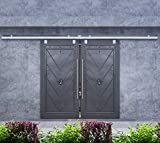 DIYHD 10FT Box Track Double Sliding Barn Door Hardware,Wall Mount Raw Material Exterior Do...