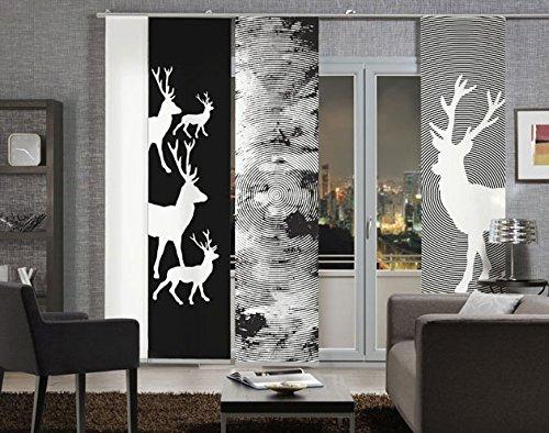 Flächen-Schiebevorhang Emotion Textiles 1001 Hirsch /schwarz-weiß/ 3-teilig / 180 cm x 260 cm