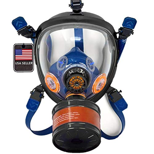 ST-100X Survival Full Face Gas Mask & Tactical Respirator with P-D-1 Single 40mm Replaceable Carbon Activated Charcoal Filter