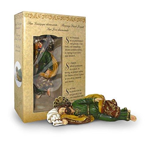 Statua di San Giuseppe dormiente da 12 cm in confezione regalo con segnalibro