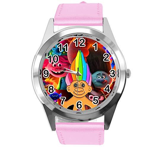 Reloj redondo de cuero rosa para fans enanos
