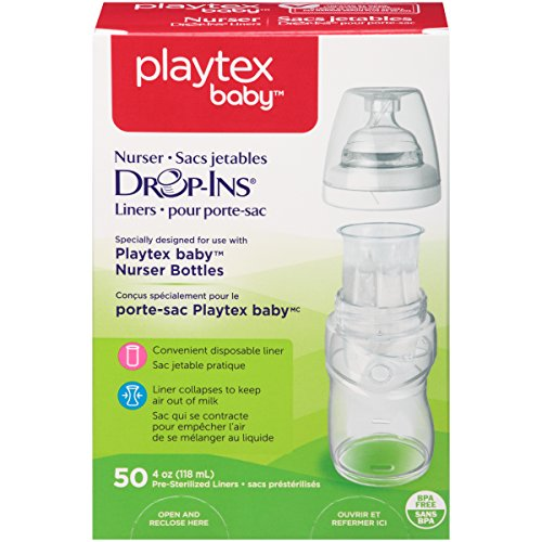 playtex breast pumps Playtex Baby Nurser Bottles Drop-Ins Recyclable Disposable Liners, Pre-Sterilized, 4 Oz, 50 Count