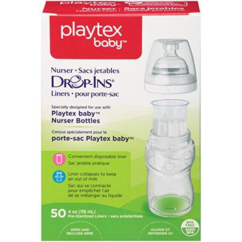 Playtex Baby Nurser Drop-Ins Einweg-Einlagen für Babyflaschen, näher an das Stillen, 118 ml, 50 Stück