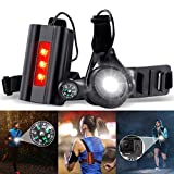 SGODDE Night Running Lights for Runners, Rechargeable LED Chest Run Light Safety Back Warning Light with Compass User for Gopro Action Camera, Camping, Running, Jogging, Outdoor Adventure(Upgraded)