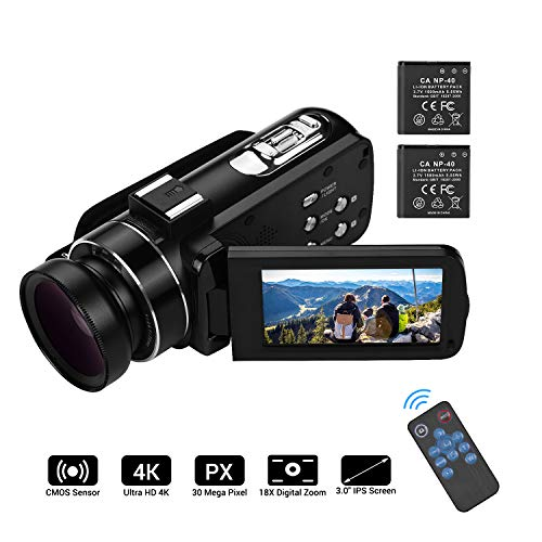 Video camera HD, Andoer 4K Ultra HD Palmare DV Videocamera professionale, 18X Digital Zoom Camera, 3.0' LCD, con Obiettivo Grandangolare 0.45X