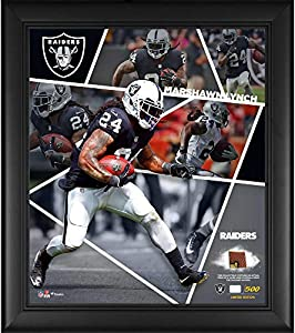 "Marshawn Lynch Las Vegas Raiders Framed 15"" x 17"" Impact Player Collage with a Piece of Game-Used Football - Limited Edition of 500"