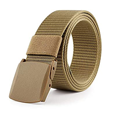 JASGOOD Nylon Canvas Breathable Military Tactical Men Waist Belt With Plastic Buckle(Suit for pant size below 45Inch,07-Dark Khaki)