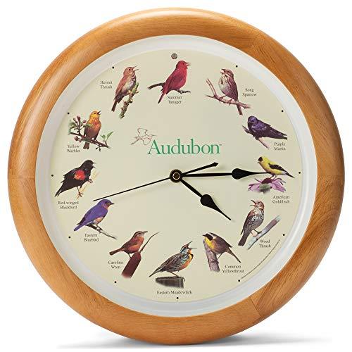 Mark Feldstein Audubon Singing Bird Wall Clock, Oak Wood Frame 13 Inch