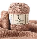 TEHETE Ovillo de lana, 100% Cachemira Hilo 50g, para manta, suéter calcetín, bufanda, diy, ganchillo y tejido(Caqui)