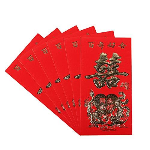 Kinnart Sobres De Colores, Sobres De Año Nuevo, 6 Piezas De Papel De Año Nuevo Chino, Sobres Rojos, Paquete, Bolsa De Dinero, Suministros De Boda, Paquete De Dinero A