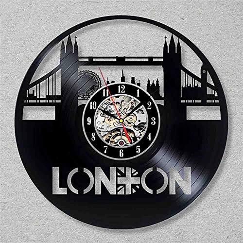 LKJHGU Reloj de Pared con Disco de Vinilo de la Ciudad de Londres, diseño Moderno, decoración de Sala de Estar, Paisaje, Reloj 3D, Reloj de Pared para Sala de Estar, decoración del Dormitorio