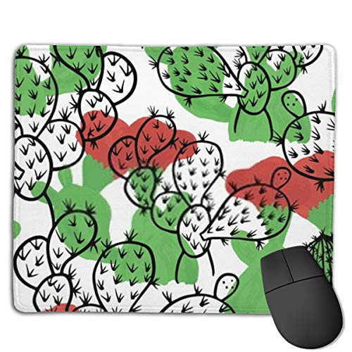 Gaming Mouse Pad Floral Summer Tropical Pattern Background Cactuses Mouse Mat Soft Mice Computer Keyboard Pad Desk Mat with Non-Slip Rubber Base