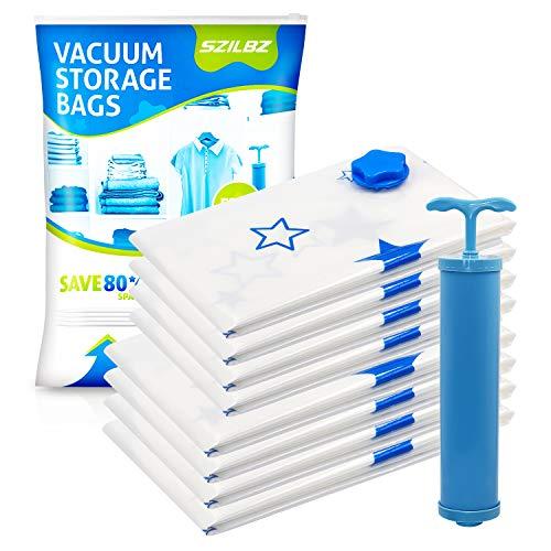 SZILBZ Vakuumbeutel (8er Set) - 4 Groß 80x60cm + 4 Mittel 70x50cm – Vakuum Aufbewahrungsbeutel für Kleidung, Bettdecken, Bettwäsche und vieles mehr
