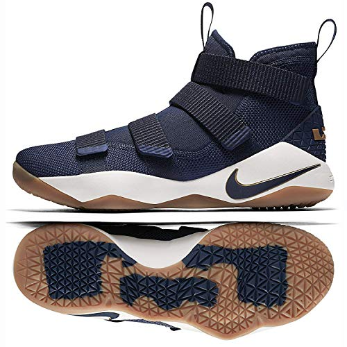 NIKE Lebron Soldier XI 897644 402 Midnight Navy/Metallic Gold Men's Basketball Shoes (10)