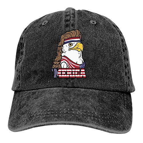 Men Women Camp Hair Baseball Cap 4th of July American Bald Mullet Eagle Retro Washed Dyed Cotton Adjustable Cowboy Hat Dad Hat Black Cotton Denim Baseball Hat Adjustable Street Rapper Hat
