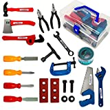 KEJIH 21 Pieces Kids Toy Tool Set and Power Play Tools, Construction Toys Working Tools Educational Pretend Role Play Set with a Handy Storage Box and Portable Sturdy Ideal Gifts Toolkit for Toddlers
