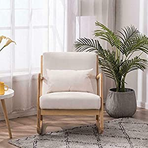 Fabric Rocking Chair with Back Solid Wood Curved Legs Padded Living Room Seat-Nursery Rocking Chair-Rocking Chair for Baby-Glider Planes for Kids