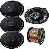 4 x Kenwood 6x9 Oval 5-Way 650 Watts Peak Power Automotive Car Audio Speakers (2 Pairs), and Enrock Audio 16-Gauge 50 Foot Speaker Wire