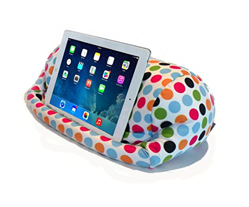 Lap PRO - Stand/Caddy, Universal Beanbag Lap Stand for iPad Pro, iPad Air,1,2,3 & All Tablets, E-Readers, Books & Magazines - Bed, Couch, Travel - Adjustable Angle; 0 - 89 deg. (Polkadot)