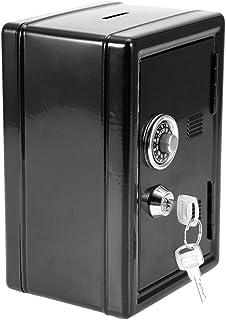 لعبة صندوق المال للأطفال، صندوق نقود بكلمة مرور لحفظ العملات النقدية، نمط صندوق آمن هدية مع مفتاحين (أسود)