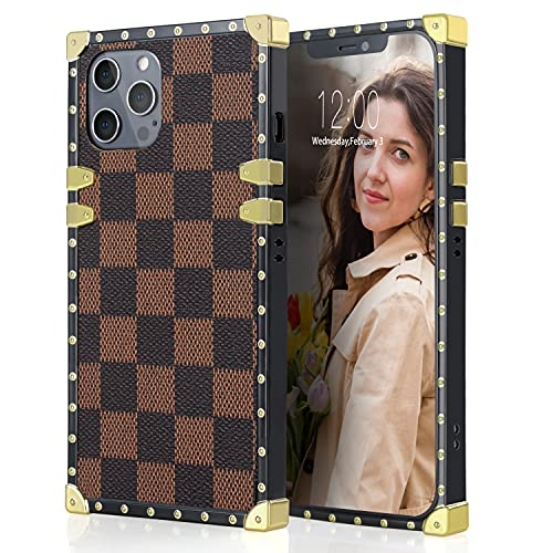 KIQ Premium Protection Checkered Case Compatible with iPhone 12/12 Pro / 12 Pro Max, Soft TPU Anti-Scratch Full-Body Slim and Lightweight Full Body Protective Case (Brown)