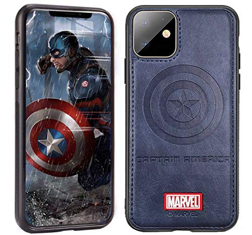 Leather Case with Avengers Character Compatible with iPhone 12 and iPhone 12 Pro 6.1-Inch, Captain America Emblem Design, Blue