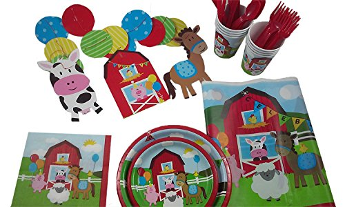 Best Bargain Farm House Party Kit for 8. Barn Yard Fun for Everyone.
