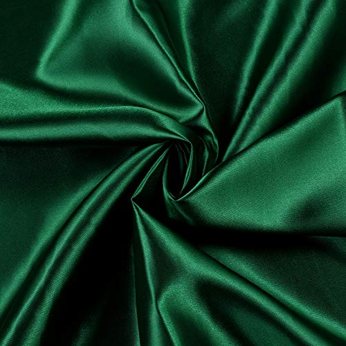 """mds Pack of 10 Yard Charmeuse Bridal Solid Satin Fabric for Wedding Dress Fashion Crafts Costumes Decorations Silky Satin 44"""" Hunter Green"""