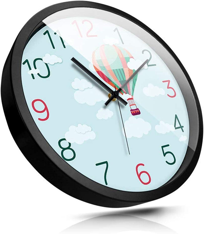 tienda en linea QQB &Reloj Parojo Reloj de Parojo Sin tictac Personalidad Personalidad Personalidad Moderna Casa Decorativa Patrón de Globo de Aire Caliente Funciona con Batería Ronda Silencio Relojes de Cuarzo (Tamao   14in)  calidad garantizada