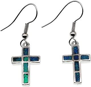 Australian Fire Blue Opal Dangle Hook Earrings for Women, Birthstone Jewelry Birthday Gifts