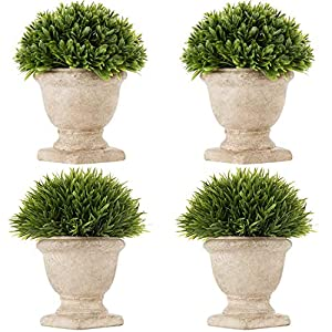 Fake Plants, Small Artificial Potted Plants Faux Plastic Greenery Topiary Shrubs Plant Trophy Pot Decoration for Home Office Room Desk Shelf Bathroom House Decor