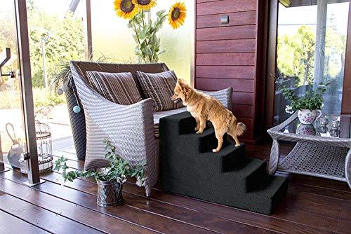 BoutiqueZOO Hundetreppe 50 cm hoch | Katzentreppe Haustiertreppe | 5 Stufen | Hunde Katzen Haustier | für Bett und Auto | Trepp für kleine Hund | Plüschbezug | Farbe: Schwarz