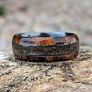 7mm Dinosaur Bone and Arizona Ironwood Ring, Custom Made Authentic Wedding Bands
